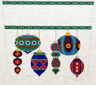 Antiques Ornaments Stocking Cuff   (handpainted needlepoint canvas  from The Meredith Collection) 18*XC-10