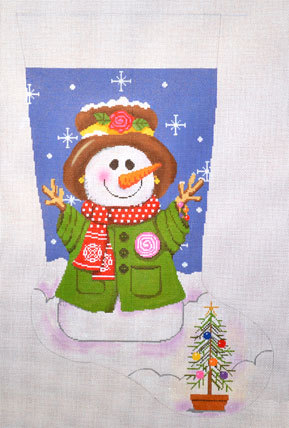 Woodland Snow Lady Stocking    (handpainted by All About Stitching)