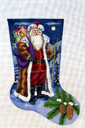 Snowy Night Stocking     (handpainted by All About Stitching) 18*GE624