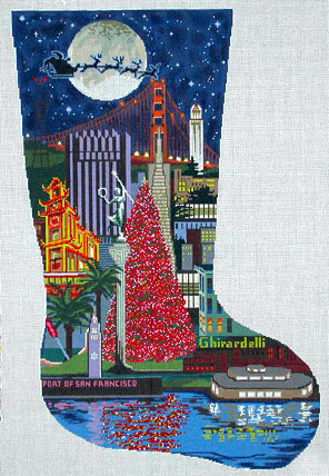 San Francisco Stocking (Handpainted by DJ Designs) 18*DL502