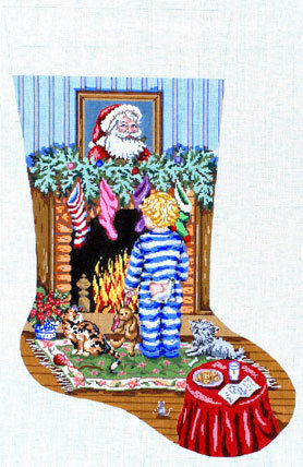 Cookies for Santa (Boy Stocking)  (handpainted by Gayla Elliott) 18*GE606-B