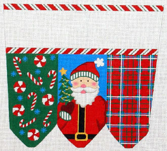 Santa Traditional Colors Stocking Cuff    (handpainted by Meredith Collection) 18*XC-1