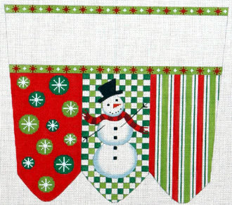 Snowman on Checks with Stripes & Circles Cuff (handpainted by Meredith Collection) 18*XC-2