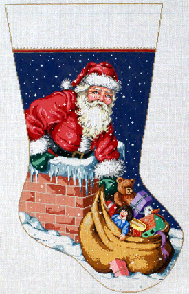 Up On The Roof Stocking   (handpainted bySandra Gilmore) 18*16*069