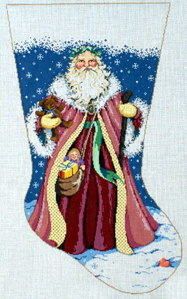 Father Christmas Stocking (Handpainted by Sandra Gilmore Designs) 18*16-099