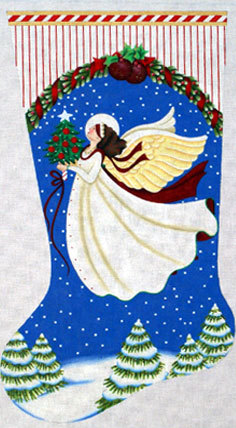 White Angel Stocking   (Handpainted by Melissa Shirley) *18-934A