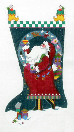 Magic Santa Stocking    (handpainted by Melissa Shirley) 18*205-HH