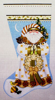 Golden Santa Stocking   (Handpainted by Melissa Shirley) 18*205NN