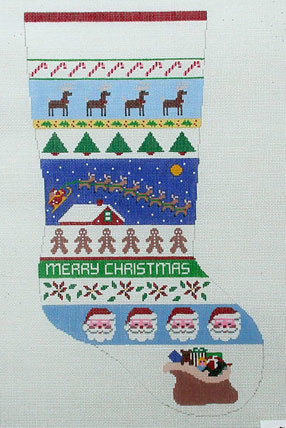 Sleigh Over Rooftop Stocking   (Handpainted by Susan Roberts) 18*0123