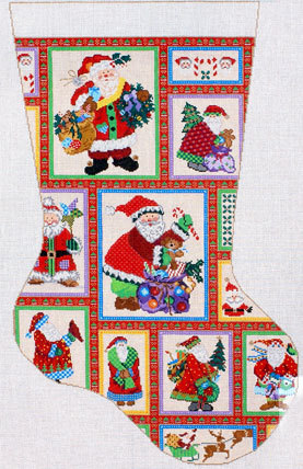 Santa Collage Stocking       (handpainted by Meredith Collection) 18*M-239