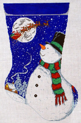 Snowman Stocking     (handpainted by Meredith Collection) 18*M-164