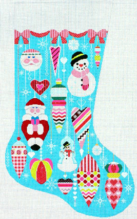 Glitzy Ornament Stocking (Handpainted by Shelly Tribbey Designs) 18*CS46