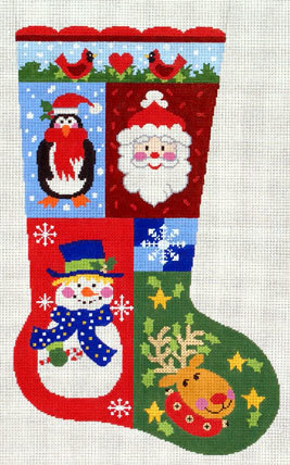 Christmas Sampler Stocking (Handpainted by Lee's Needle Arts) 18*SX7105