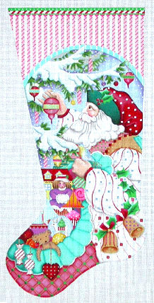 Peppermint Stick Santa Stocking A71-538