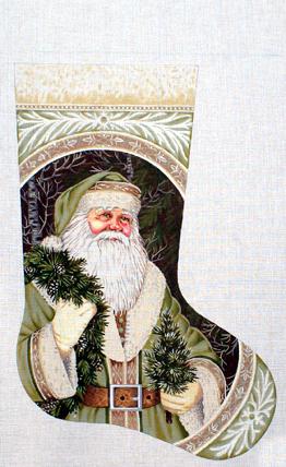 Evergreen Santa Stocking   (handpainted by Liz-Goodrick-Dillon) 18*TTAXS-450