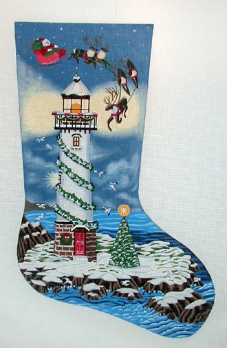 Santa and Lighthouse Stocking    (handpainted by Liz-Goodrick-Dillon) 18*TTAXS-314