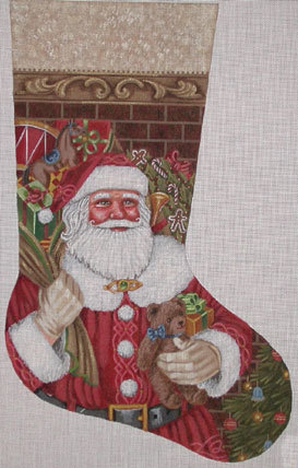 Santa Claus Stocking   (handpainted by Liz-Goodrick_Dillon) 18*TTAXS-443