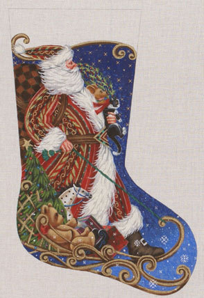 Sledding Santa Stocking   (handpainted by Liz-Goodrick Dillon) 18*TTAXS-381