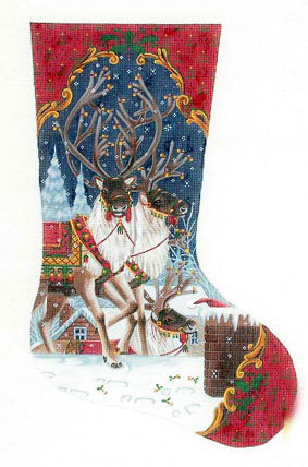 On The Rooftop Stocking    (handpainted by Liz-Goodrick-Dillon) 18*TTAXS-301