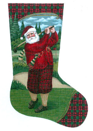 Santa Teeing Off Stocking B11-TTAXS603-81