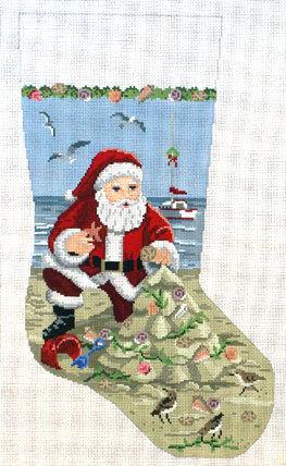 Santa, Sancastle & Christmas Tree Stocking   (handpainted by Susan Roberts) 18*191