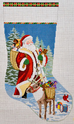 Santa, Reindeer & Toy Basket Stocking  (handpainted by Susan Roberts) 18*156