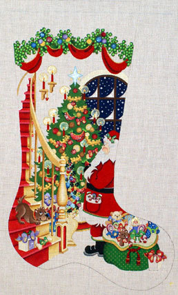 Santa with Bag of Toys Stocking    (handpainted from Strictly Christmas) 18*CS-390