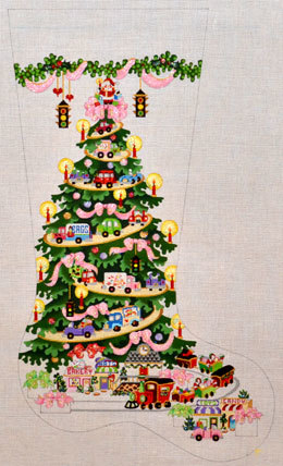 Transportation Tree, for Girls- with Pink Ribbons  (handpainted from Strictly Christmas) 18*CS-181