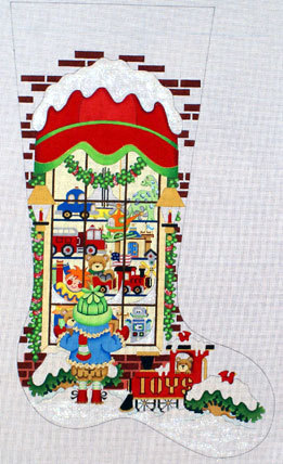 Toy Shop-Full Window for boy, Red Canopy Stocking   (handpainted from Strictly Christmas) 18*CS-112