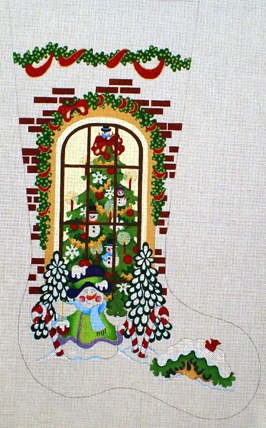 Snowman Outside of Window Stocking   (handpainted from Strictly Chrismas) 18*CS-355