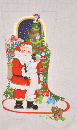 Santa with Toy Bag & List Stocking    (handpainted by Strictly Christmas) 18*-CS-277