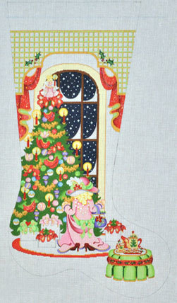 Girl Dressed in Mom's Clothes Stocking  (Handpainted from Strictly Christmas) 18*SC-397
