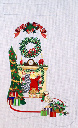 Girl Hanging Stocking on Fireplace  (Handlpainted by Strictly Christmas) 18*CS-230-HG
