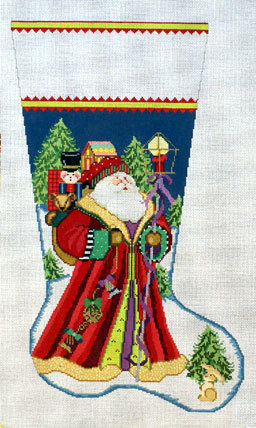 Santa Delivers Stocking (Handpainted by Needledeeva Inc.) 18*1356J-13