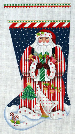 Candy Cane Claus Stocking      (handpainted by Melissa Shirley) 18*205LL