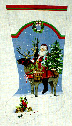 Santa Reindeer Stocking    (handpainted by Melissa Shirley) 18*MLT-232