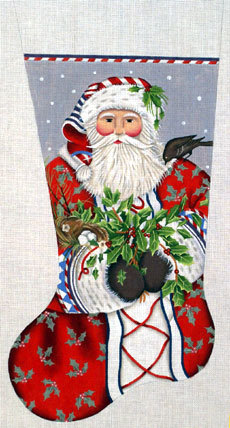 Holly Santa Stocking   (Handpainted by Melissa Shirley) 18*MLT-151