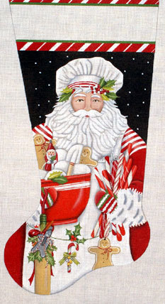 Santa Baker Stocking   (handpainted by Melissa Shirley) 18*MLT-193