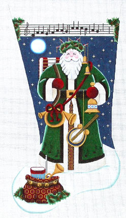 Musical Santa Stocking    (Handpainted by Rebecca Wood Designs) 18*1344