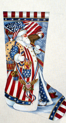 Patriotic Santa Stocking    (hand painted by Liz-Goodrick-Dillon) 18*TTAXS-340