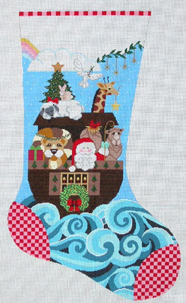 Santa & Ark Stocking (Handpainted by Shelly Tribbey Designs) 18*CS650