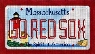 Go Red Socks License Plate  (Handpainted by CBK Needlepoint Collection) 18*SA-LP34