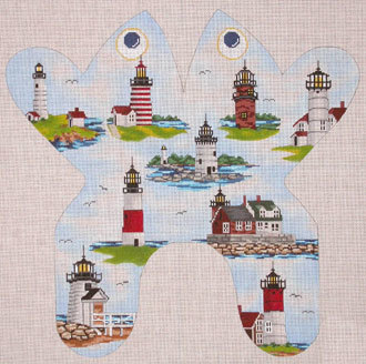 Northeast Lighthouse Frog (handpainted by CBK Needlepoint Collection) 18*M-155