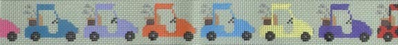 Parade of Golf Carts      (Handpainted by JP Needlepoint Designs) 18*BL172