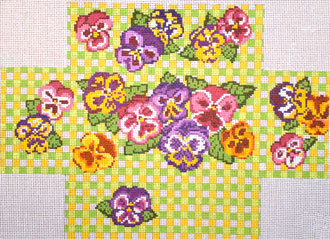 Pansy Brick Cover (Handpainted by Needle Crossings) 18*231