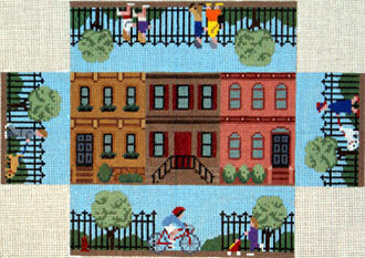 Brownstone Walk Brick Cover (Handpainted canvas by Susan Roberts)