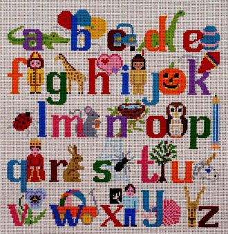 Alphabet with Characters / Wall Hanging   (handpainted by Susan Roberts) 18*1307