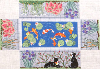 Koi Pond Brick Cover    (handpainted by Susan Roberts) 18*0373