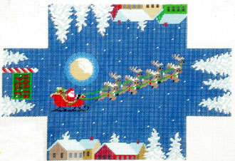 Santa Over the Rooftop Brick Cover    (handpainted by Susan Roberts) 18*0397