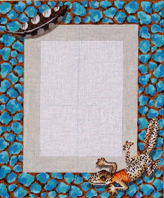 Lizard Picture Frame     (hand painted needlepoint canvas from Colors of Praise) 19*PF-151